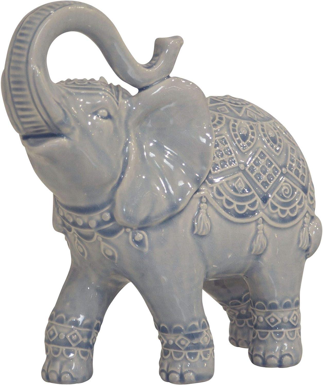 Home Essentials 71753 Elephant Figurine, 11-inch Length, Light Blue