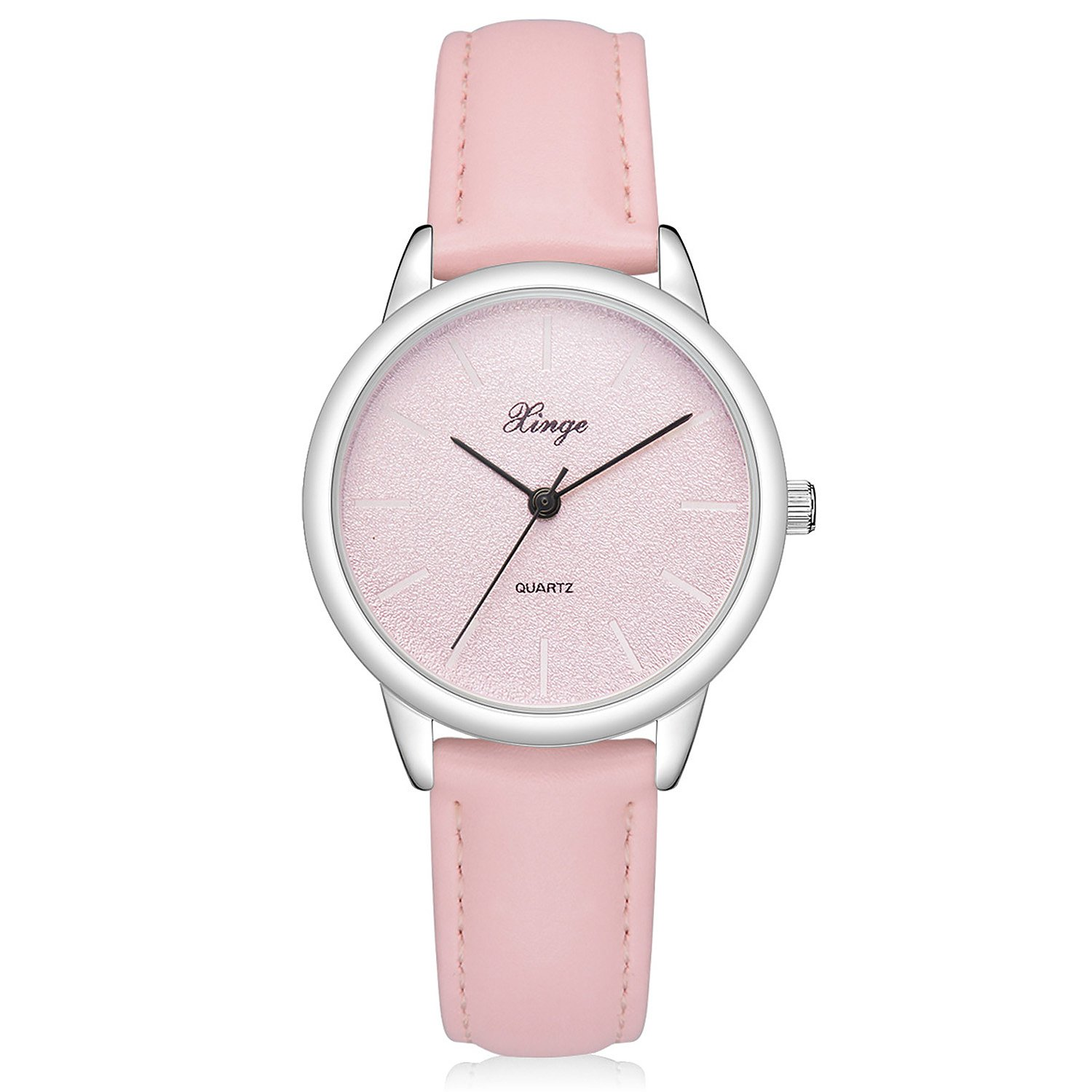 Womens Retro Casual Wrist Watch Simple Classic Analog Quartz Leather Band Watches (Pink)