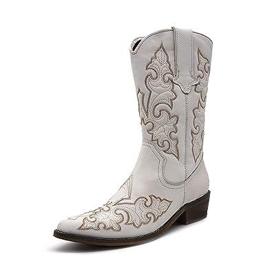 De Dames Femme Du Cuir Pointu L'ouest Large Cowboy Bout Bottes À ZTkuOPXi
