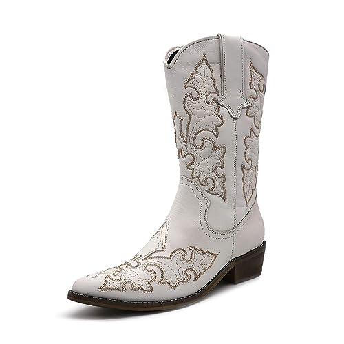 Femme de l'Ouest du Cuir Bottes de cowboy à bout Pointu Dames Large Mollet Bottes