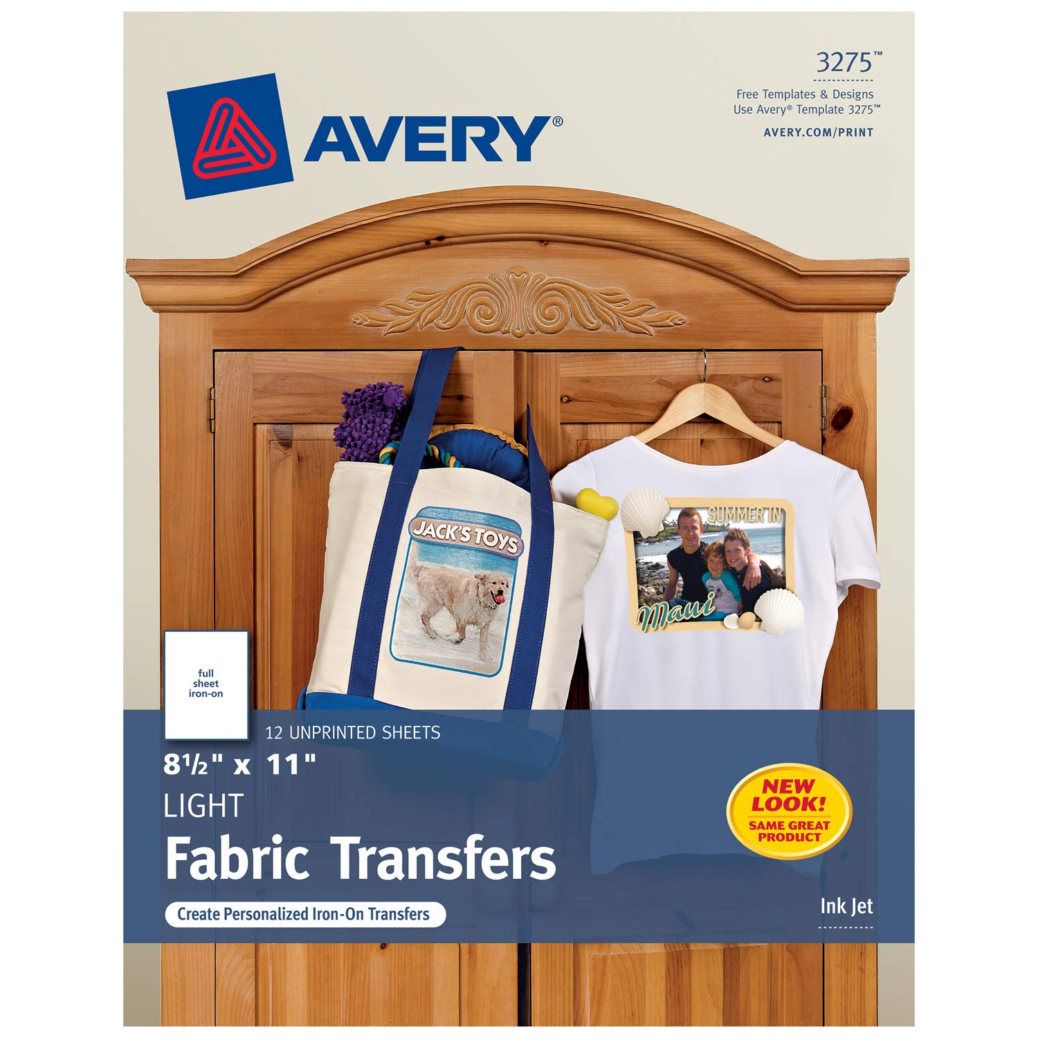 Amazon Avery 3275 Iron On Light Fabric Transfers 8 12 X 11