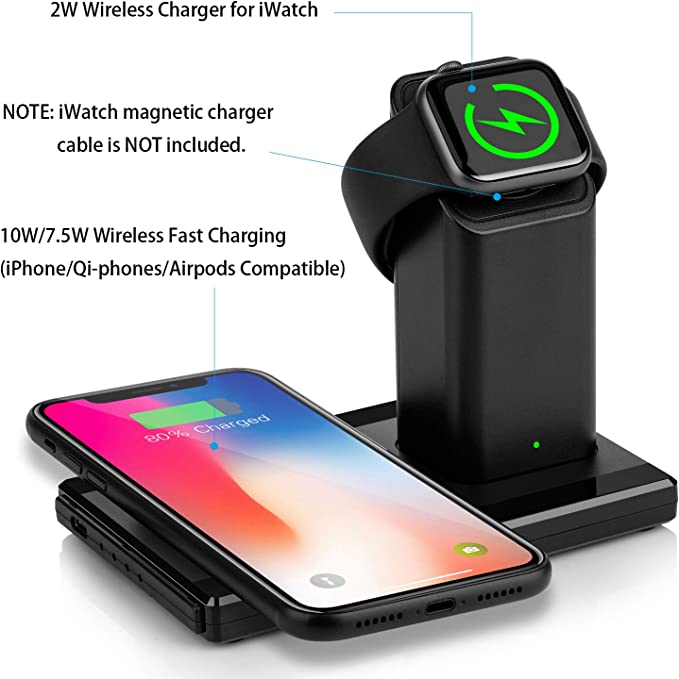 Dual Wireless Charging Station with iWatch Charger Stand for iWatch 5//4//3//2 7.5W Qi Fast Charger for iPhone 11//11 Pro Max//XR//XS//X//8//8P YAFEI 2 in 1 Wireless Charger No iWatch Cable or Adapter