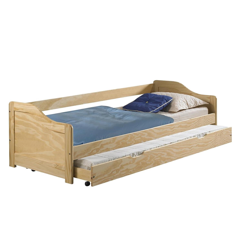 IDIMEX Funktionsbett LISA Funktionsliege Jugendbett mit Bettkasten Kiefer Kiefer Kiefer natur 90 x 200 cm (B x L) 2 Lattenroste 4584ba