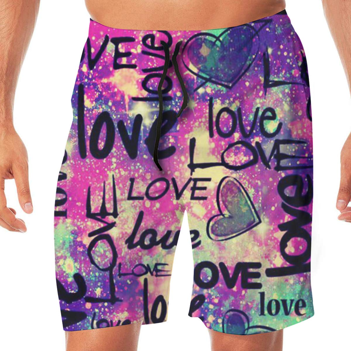 Wexzss Happy Valentines Day Funny Summer Quick-Drying Swim Trunks Beach Shorts Cargo Shorts