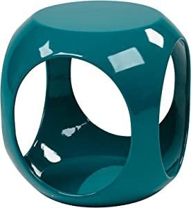 AVE SIX Slick High Gloss Finish Cube Occasional Table, Blue