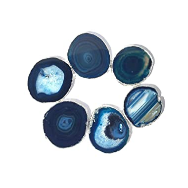JIC Gem Silver Plated Dyed Blue Agate Coasters, 6 pcs set, 3-4 , with Rubber Bumper