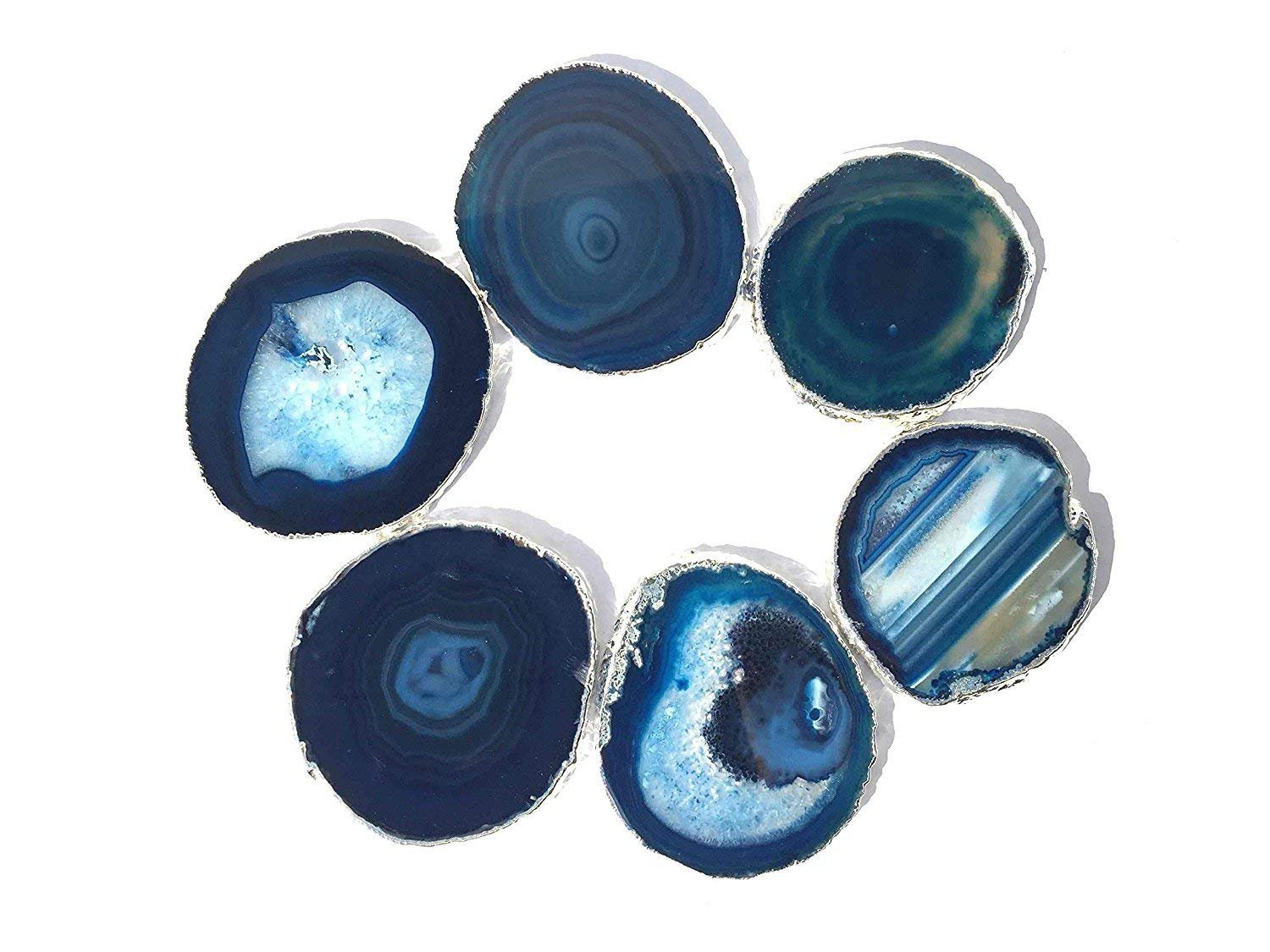JIC Gem Silver Plated Dyed Blue Agate Coasters, 6 pcs set, 3-4'', with Rubber Bumper