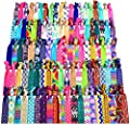 Syleia 100 Hair Ties - Signature Collection Printed Patterns and Solid Colors - Elastic Ponytail Holders No Crease Hand Knotted Fold Over Assorted 100 Pack