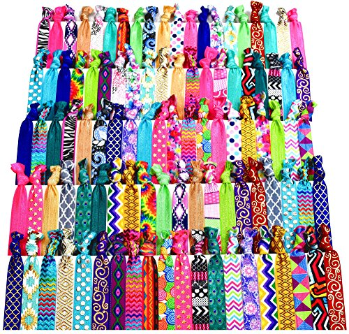 (Syleia 100 Hair Ties - Signature Collection Printed Patterns and Solid Colors - Elastic Ponytail Holders No Crease Hand Knotted Fold Over Assorted 100 Pack)