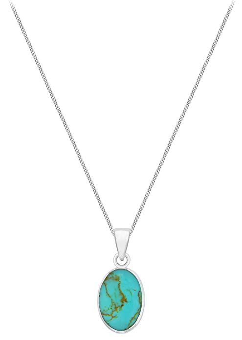 Tuscany silver sterling silver oval turquoise pendant on chain tuscany silver sterling silver oval turquoise pendant on chain necklace of 46cm18 amazon jewellery aloadofball Images