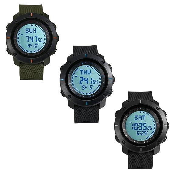 Los hombres de senderismo brújula digital deportivo reloj, 50 m resistente al agua, 48 Países mundo tiempo, 3 Alarma, correa de caucho: Amazon.es: Relojes