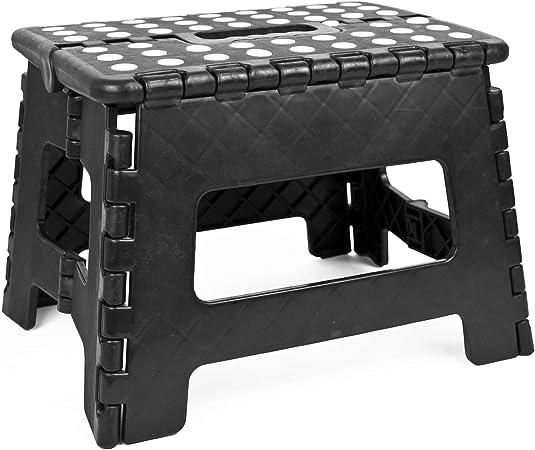 TEKBOX Marchepied Pliable Multifonction en Plastique pour la Maison ou la Cuisine Plastique Small Noir