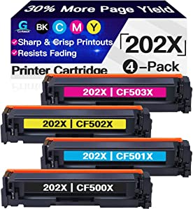 Go4max Compatible 4-Pack 202X 202A Toner Cartridge CF500X CF501X CF502X CF503X for HP Laserjet Pro M254dw MFP M281fdw M281cdw M280nw Printer (Black/Cyan/Magenta/Yellow)