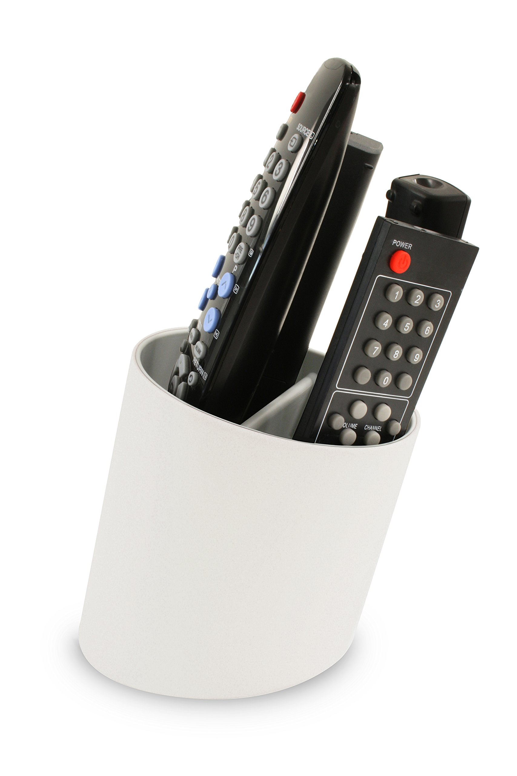 j-me Tilt Remote Control Tidy Remote Holder and TV Remote Organizer (White/Grey) by j-me