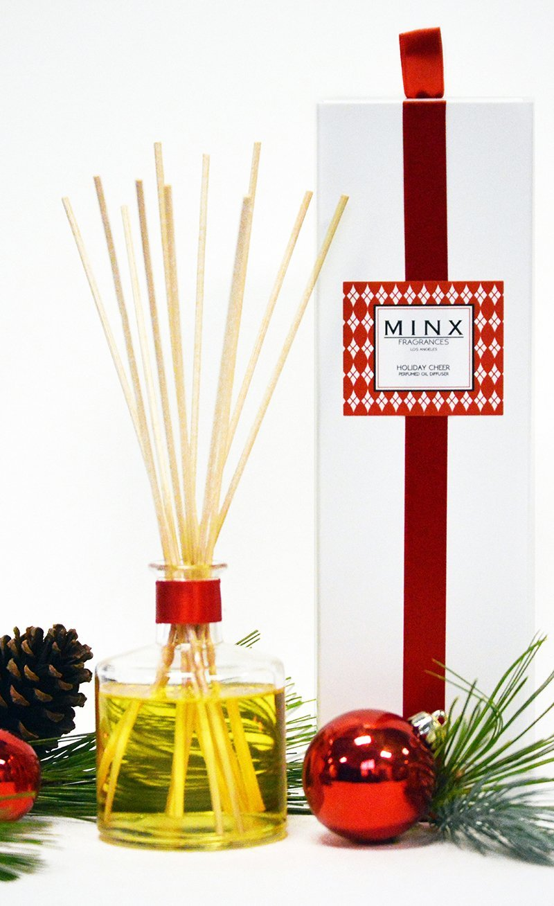 MINX Fragrances Sale! Holiday Cheer Essential Oil Reed Diffuser Gift Set Red Currant, Evergreen, Balsam Fir & Juniper Notes | Festive Christmas Fragrance | Decorative Air Freshener