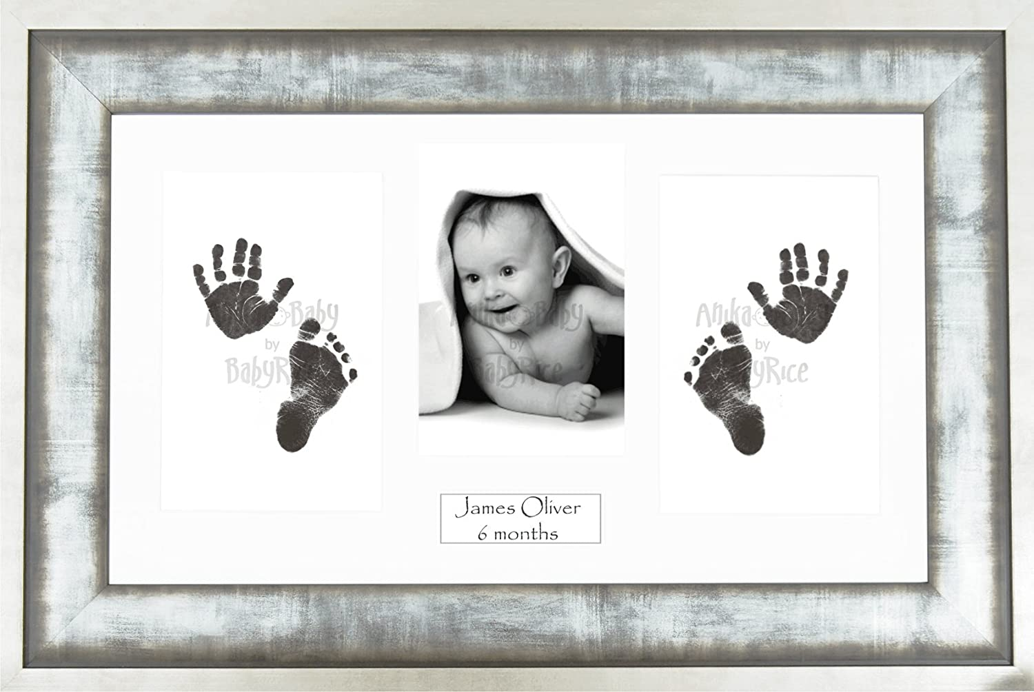 BabyRice Baby Hand /& Footprints Kit//Black Inkless Prints//Urban Silver Metals effect Frame with White Mount Display