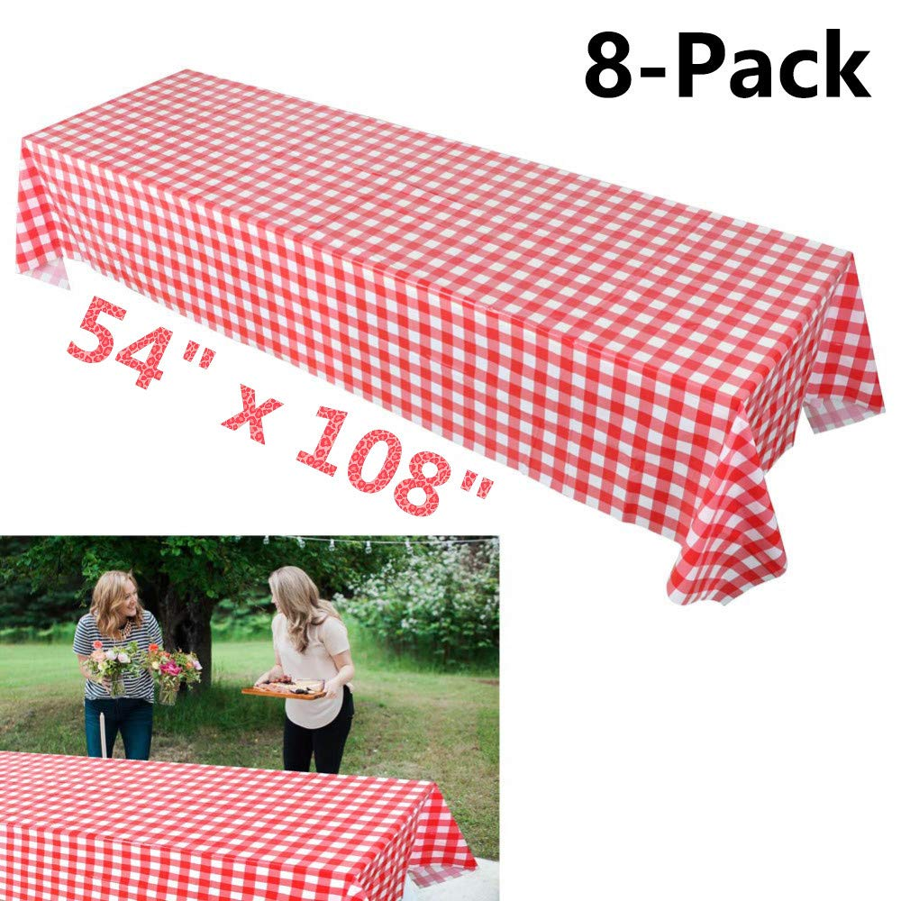 Plastic Red and White Checkered Tablecloths, 8 Packs Plastic Disposable Vinyl Party Tablecloths - Picnic Camping Party Supply Table Cover for Birthdays, Gatherings, Holidays, BBQ s - 108 x 54 inches