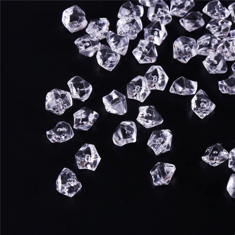 DIYASY 200pcs Clear Acrylic Ice Rocks Fake Ice Cubes Fake Diamonds Crystals Treasure Gems for Vase Fillers or Table Scatters Wedding Birthday Decorations