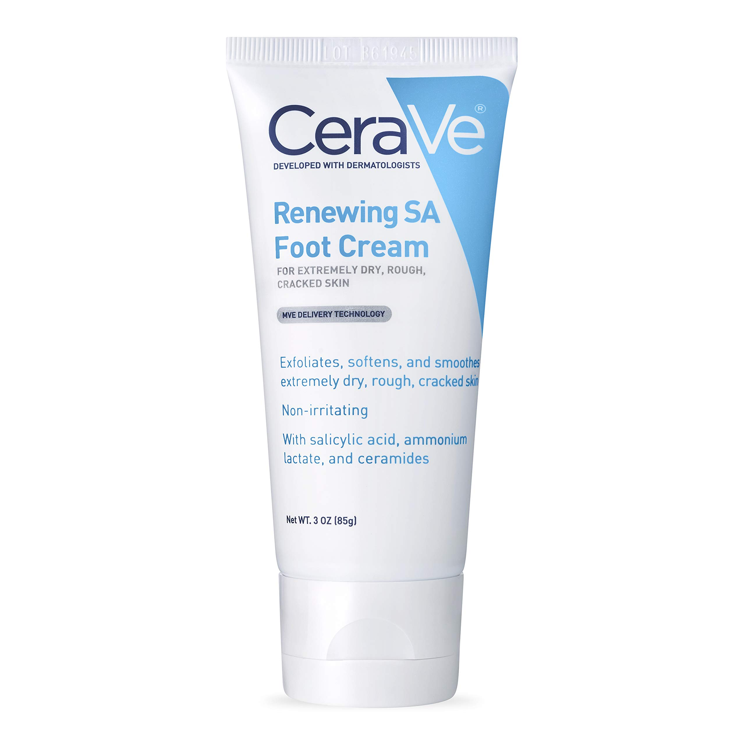 CeraVe Foot Cream with Salicylic Acid | 3 Ounce | Foot Cream for Dry Cracked Feet | Fragrance Free by CeraVe
