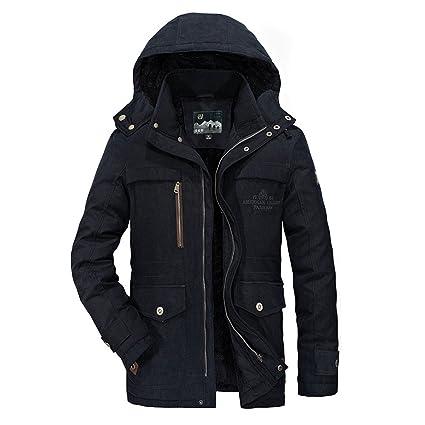 Winterjacke Herren Parka Gefüttert Baumwolle Mantel mit Pelzkragen Jacke Warm Outdoor Kapuzenjacke mit Fell, Blau, Gr. M