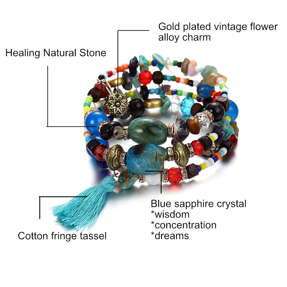 ISAACSONG.DESIGN Bohemian Multilayer Healing Stone Crystal Beads Charm Tribal Wrap Bangle Bracelet for Women (2 Pcs Colorful Beaded) by ISAACSONG.DESIGN (Image #3)