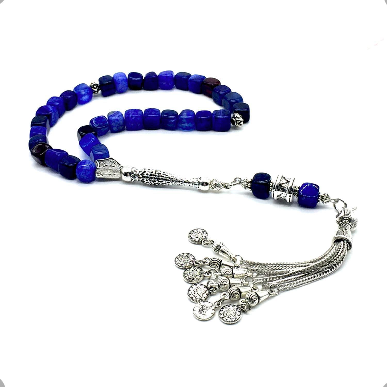 Natural 8mm Agate Prayer beads Bracelet Islamic Muslim Tasbih 33 Rosary Necklace