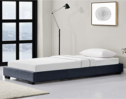 Corium Cama Individual Tapizado en Lienzo 90 x 200 cm Somier Moderno con Listones para Cama Gris Oscuro