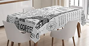"Ambesonne Paris Tablecloth, Traditional Famous Parisian Elements Bonjour Croissan Coffee Eiffel Tower Print, Dining Room Kitchen Rectangular Table Cover, 52"" X 70"", Black White"
