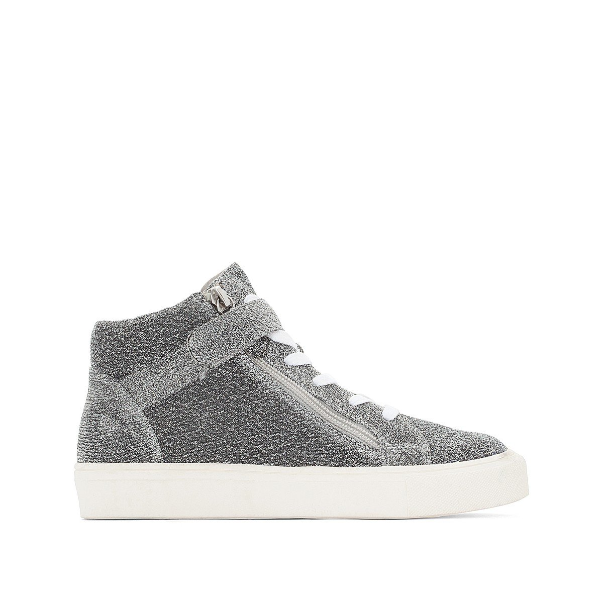 La Redoute Collections Big Girls Glittery High Top Trainers Grey Size 35 (2.5 to 3)