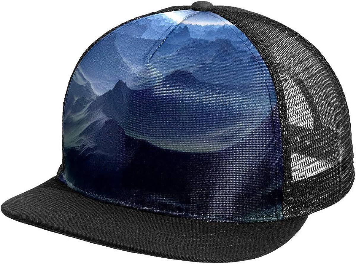 Planet Mesh Baseball Cap Black Trucker Hat for Men Women Summer Headgear Adjustable Mens Snap Backs Sun Hats Hip Hop Flat Brim Brimmed caps Sports Outdoors One Size Fits All