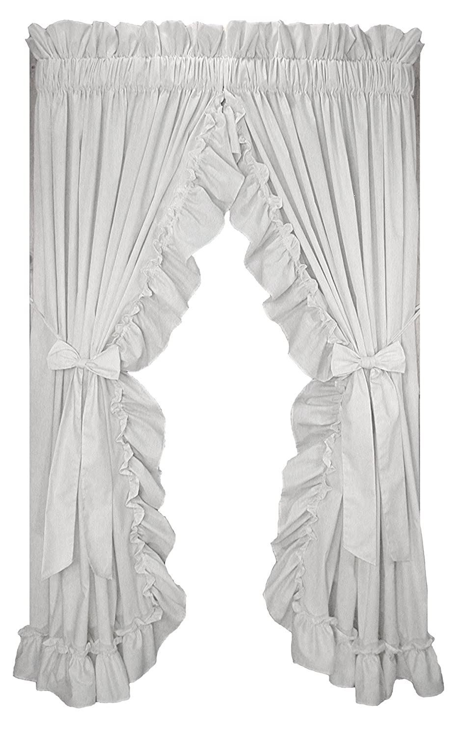 Window Toppers Stephanie Country Ruffle Priscilla Curtains Pair 86-Inch-by-63-Inch - 1 1/2 Inch Rod Pocket, White