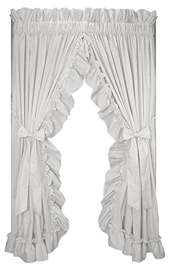 Stephanie Country Style Ruffle Priscilla Curtains Pair 86 Inch By 84