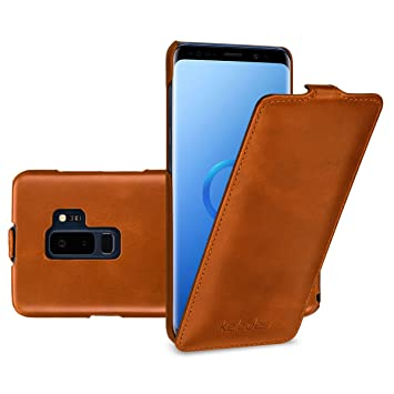 official photos 8a414 64b6d keledes Samsung Galaxy S9 Plus (S9+) leather flip down Case, Slim Genuine  Real Leather Vertical Flip Case Cover Protective Case for Samsung Galaxy S9  ...