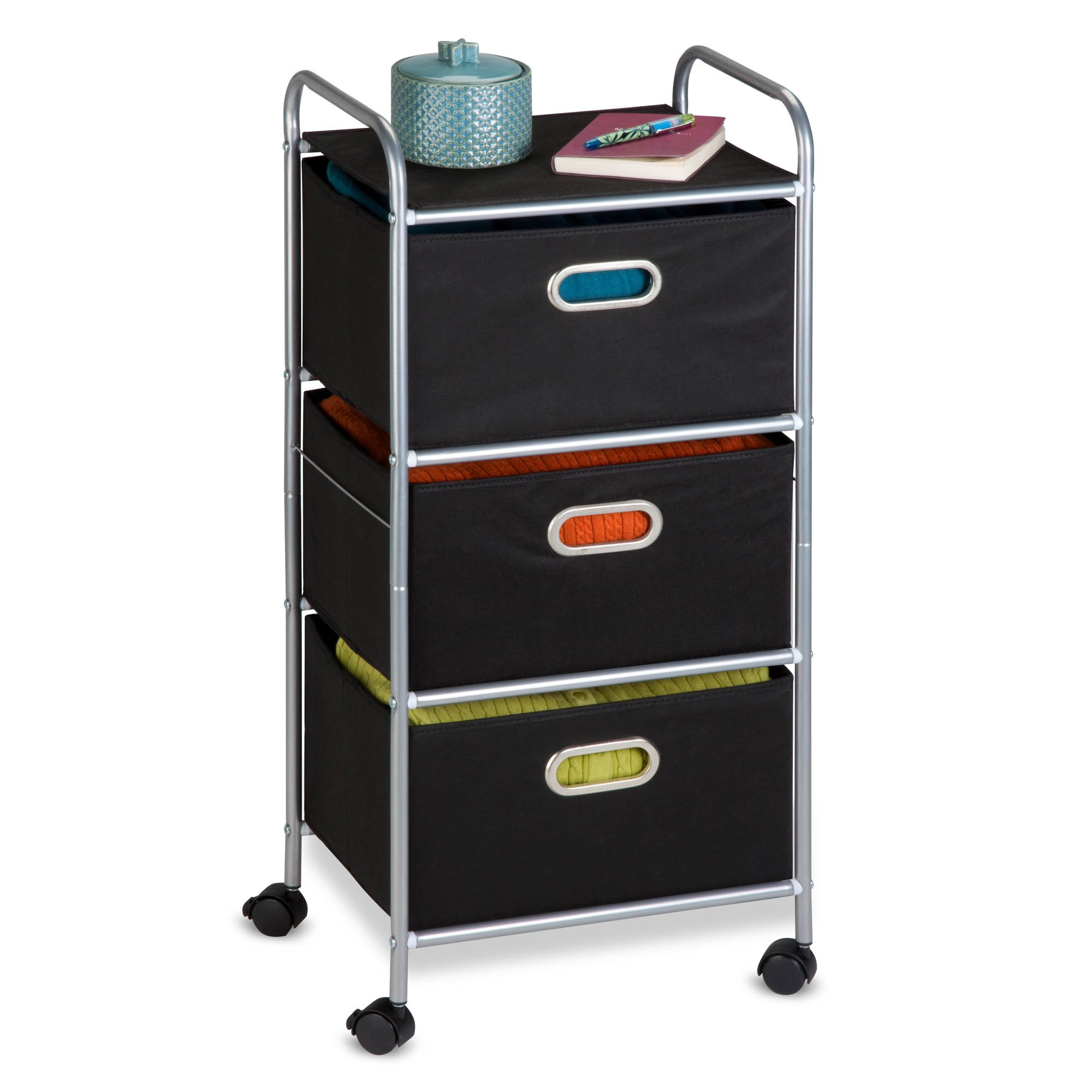 Honey-Can-Do CRT-02184 Rolling Storage Cart, Black/Chrome by Honey-Can-Do