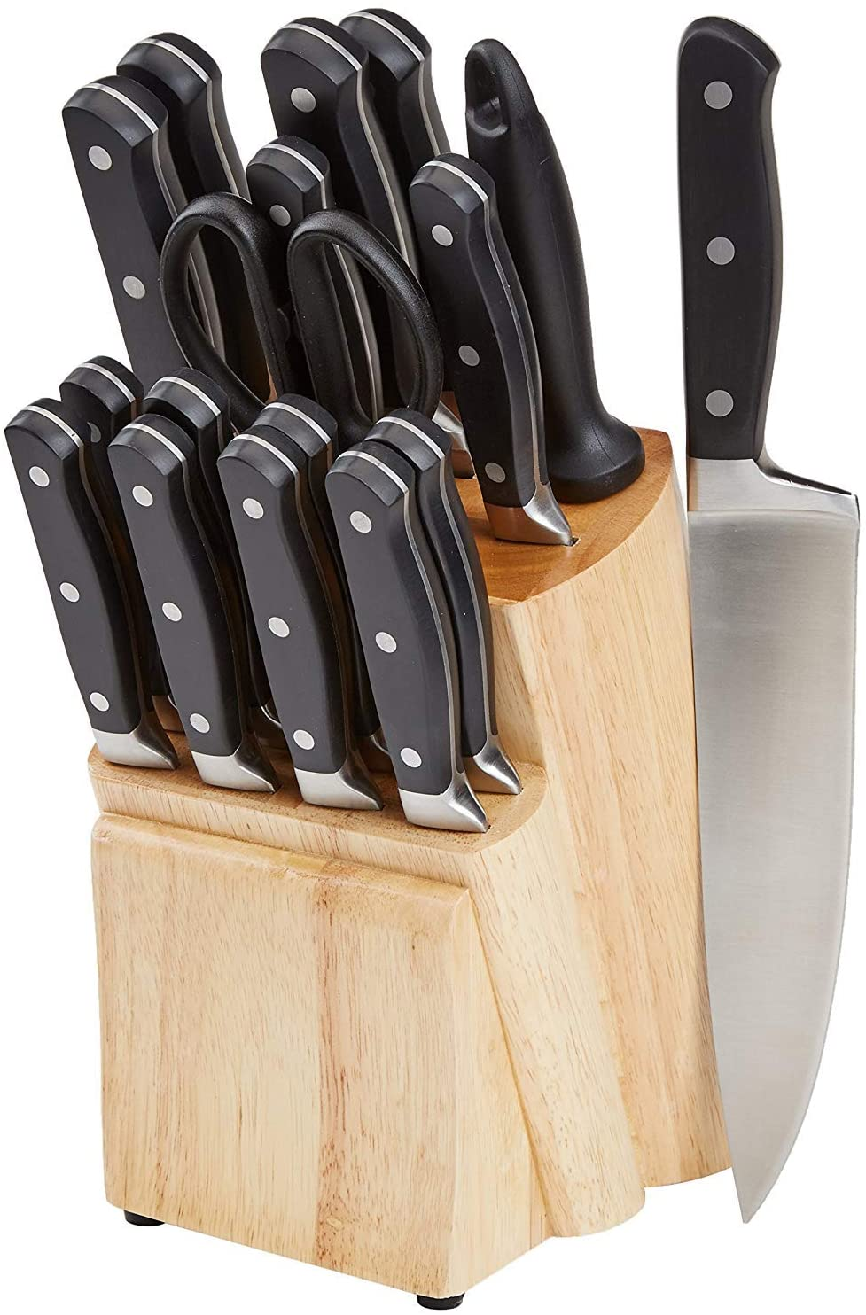 Amazon Com Amazon Basics Premium 18 Piece Kitchen Knife Block Set Kitchen Dining