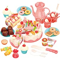 REMOKING Pretend Play Food for Kids,DIY 82PCS Decorating and Cutting Birthday Party Cake, Tea Set,Candle,Fruits,Biscuits…