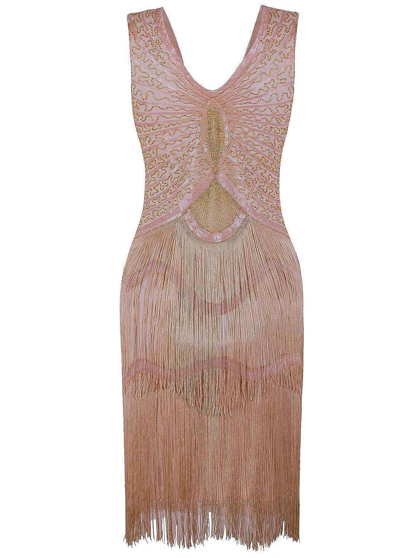0878fb2fa9337 Vijiv 1920s Style Inspired Charleston Sequin Layer Tassel Cocktail Flapper  Dress