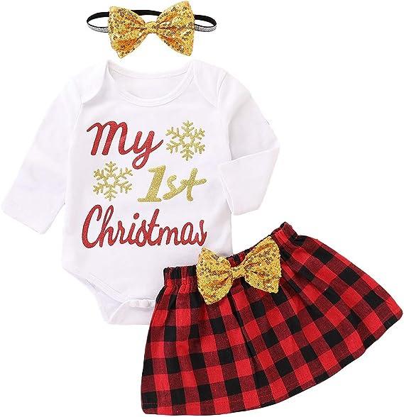Conjunto de Vestido de Navidad para niñas bebés Mameluco de Manga ...