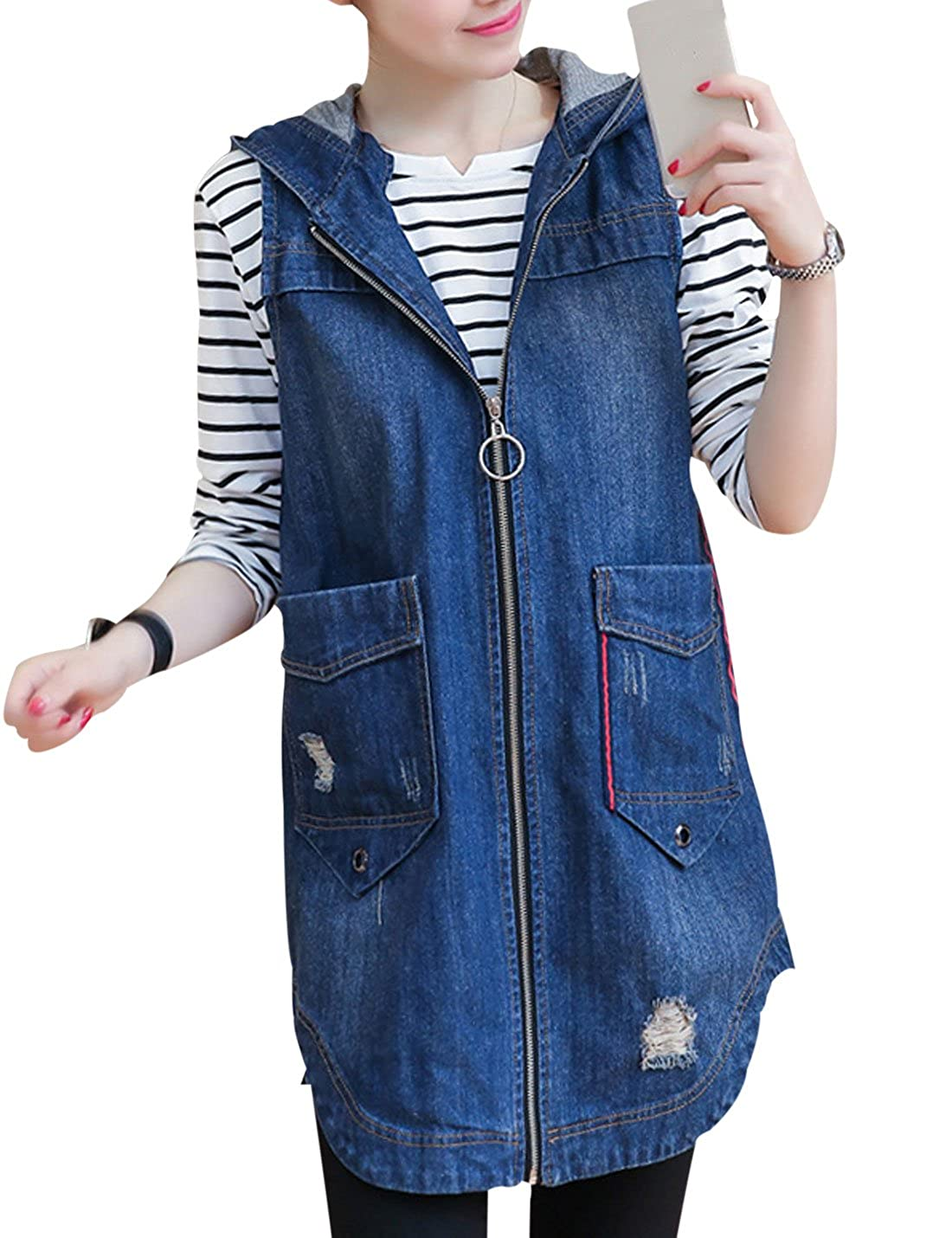 Yeokou Women's Casual Hood Sleeveless Zip Slim Mid-Long Cotton Denim Vest Jacket