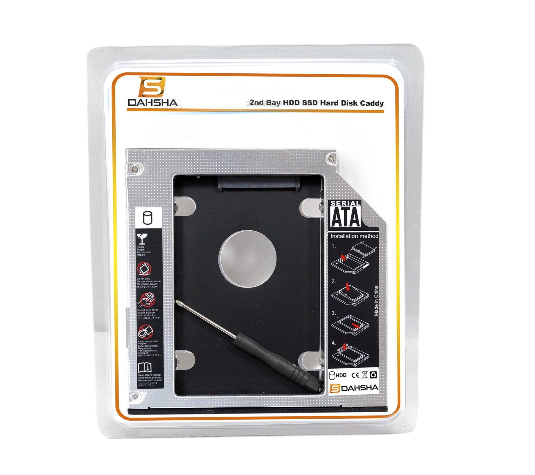 Dahsha SATA Optical Bay 2nd Hard Drive Caddy, Universal for 9.5mm CD/DVD Drive Slot (for SSD and HDD) product image