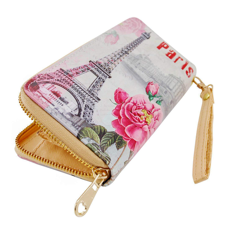 Damen Geldbörse XL Postcard Paris Portmonee Geldbeutel Langbörse Brieftasche