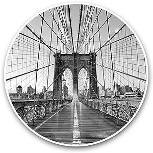 Vinyl Stickers (Set of 2) 15cm Black & White - New York Brooklyn Bridge USA Laptop Luggage Tablet #42634