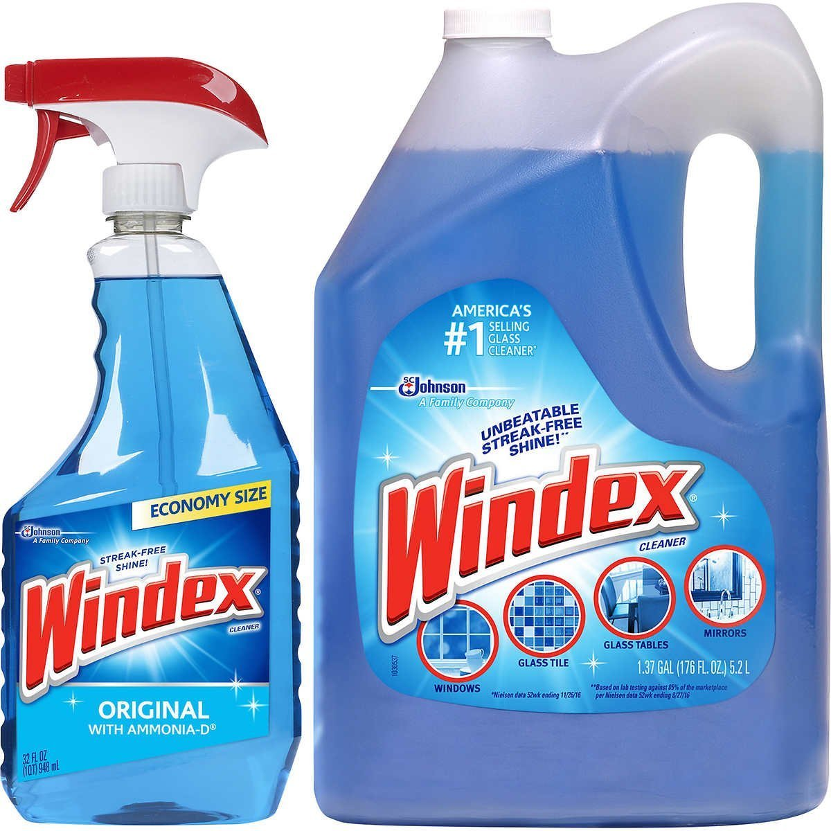 Mega Value Windex Original Glass & Multi Surface Cleaner Set: 32 oz. Trigger Spray + 1.32 Gallons Refill