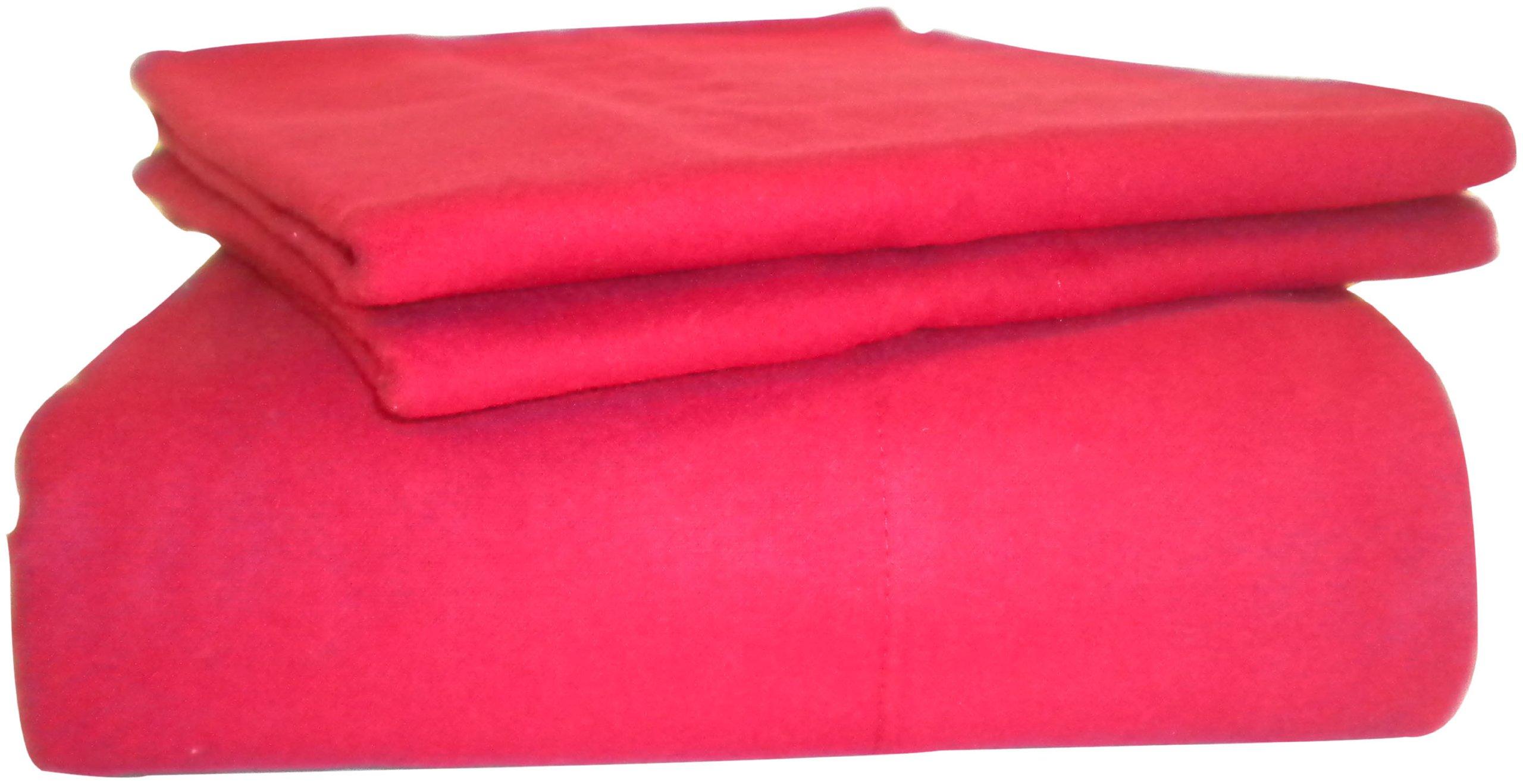 La Rochelle Solid Flannel Queen Sheet Set, Red