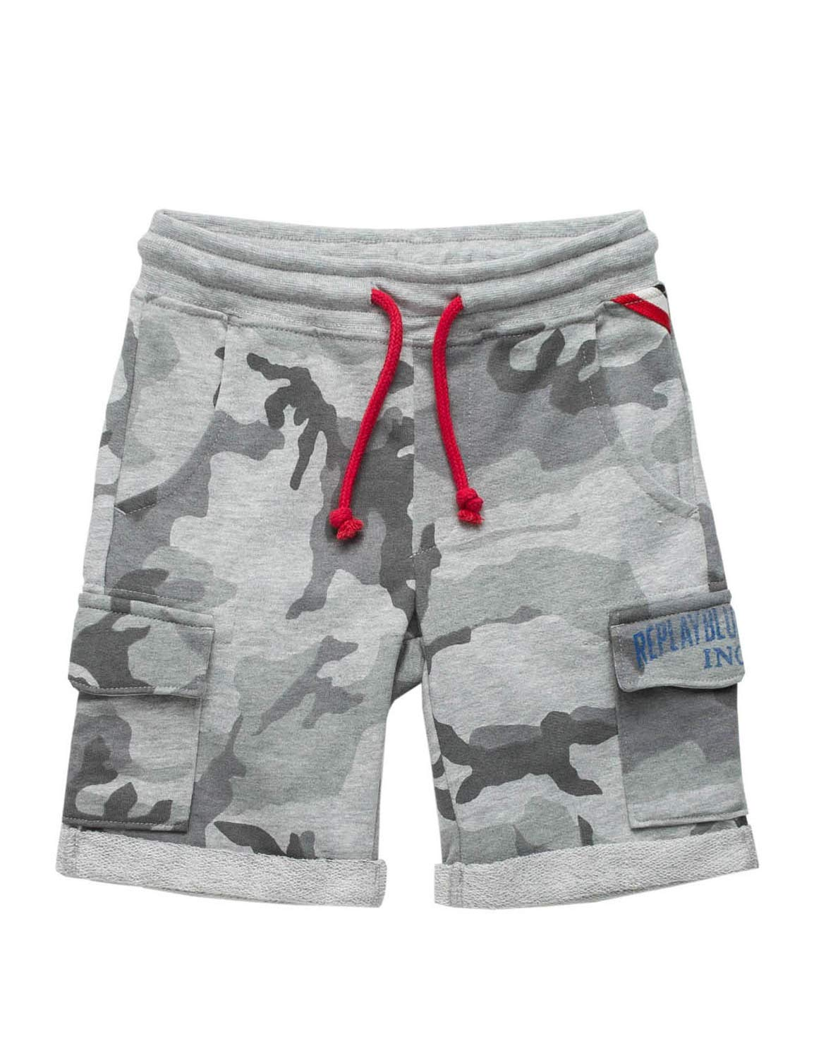 Replay Boys Kids Shorts with Camo Print Grey in Size 8 Years