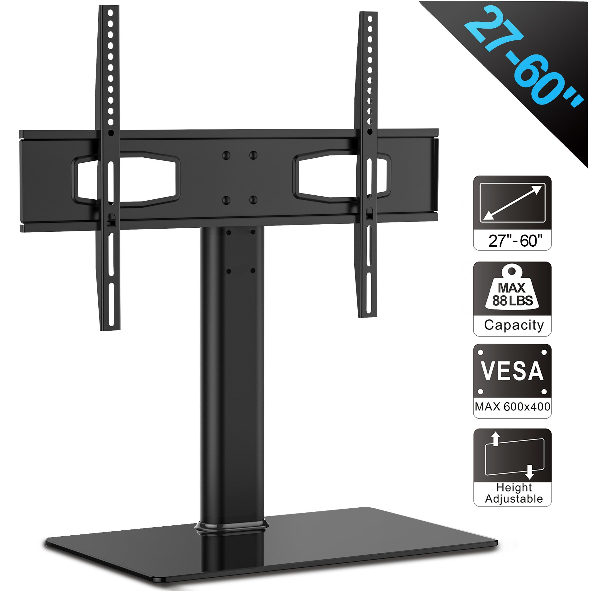 Fitueyes Universal TV Stand/Base Tabletop TV Stand with Mount for up to 60 inch Flat Screen Tvs Vizio/Sumsung/Sony Tvs/Xbox One/tv Components Max VESA 400x600 TT105201GB