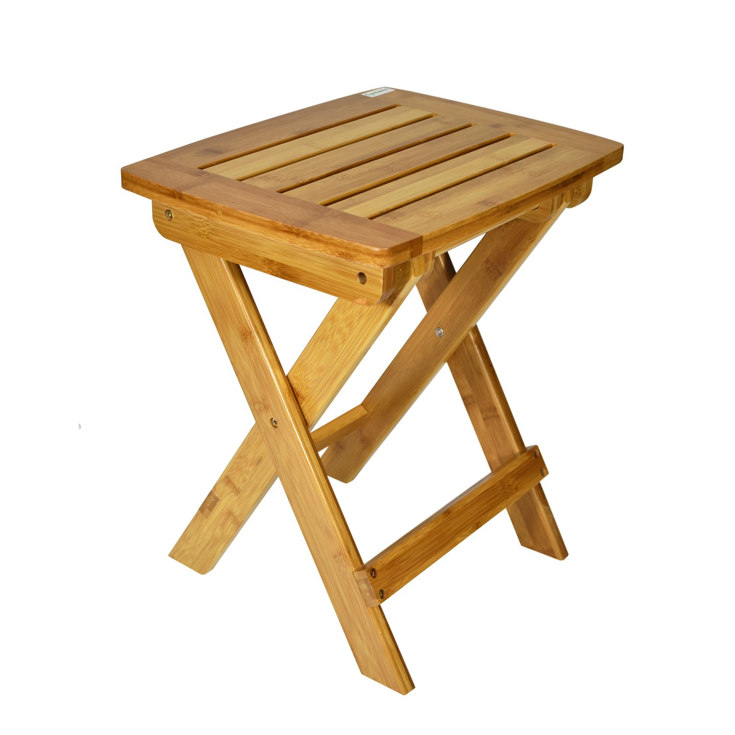 Cyanbamboo Multifunctional Bamboo Stool with Foldable Legs and Used for Picnic Fishing Bathroom Garden (Natural)