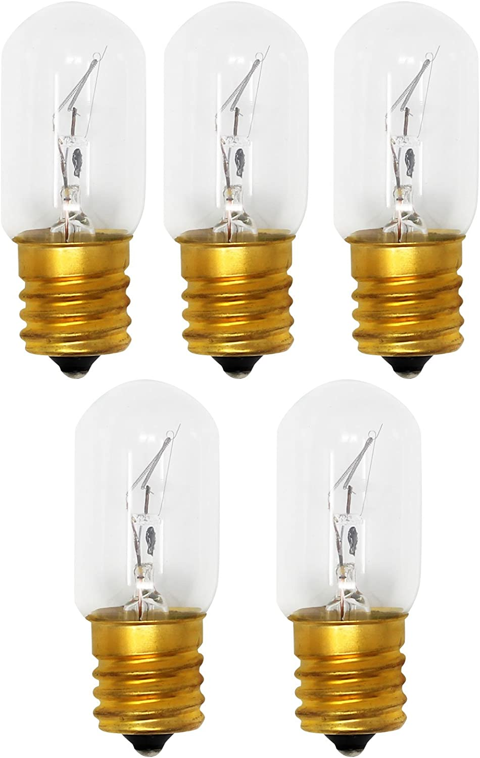 5-Pack Replacement Light Bulb for Whirlpool WMH31017AS1 Microwave - Compatible Whirlpool 8206232A Light Bulb
