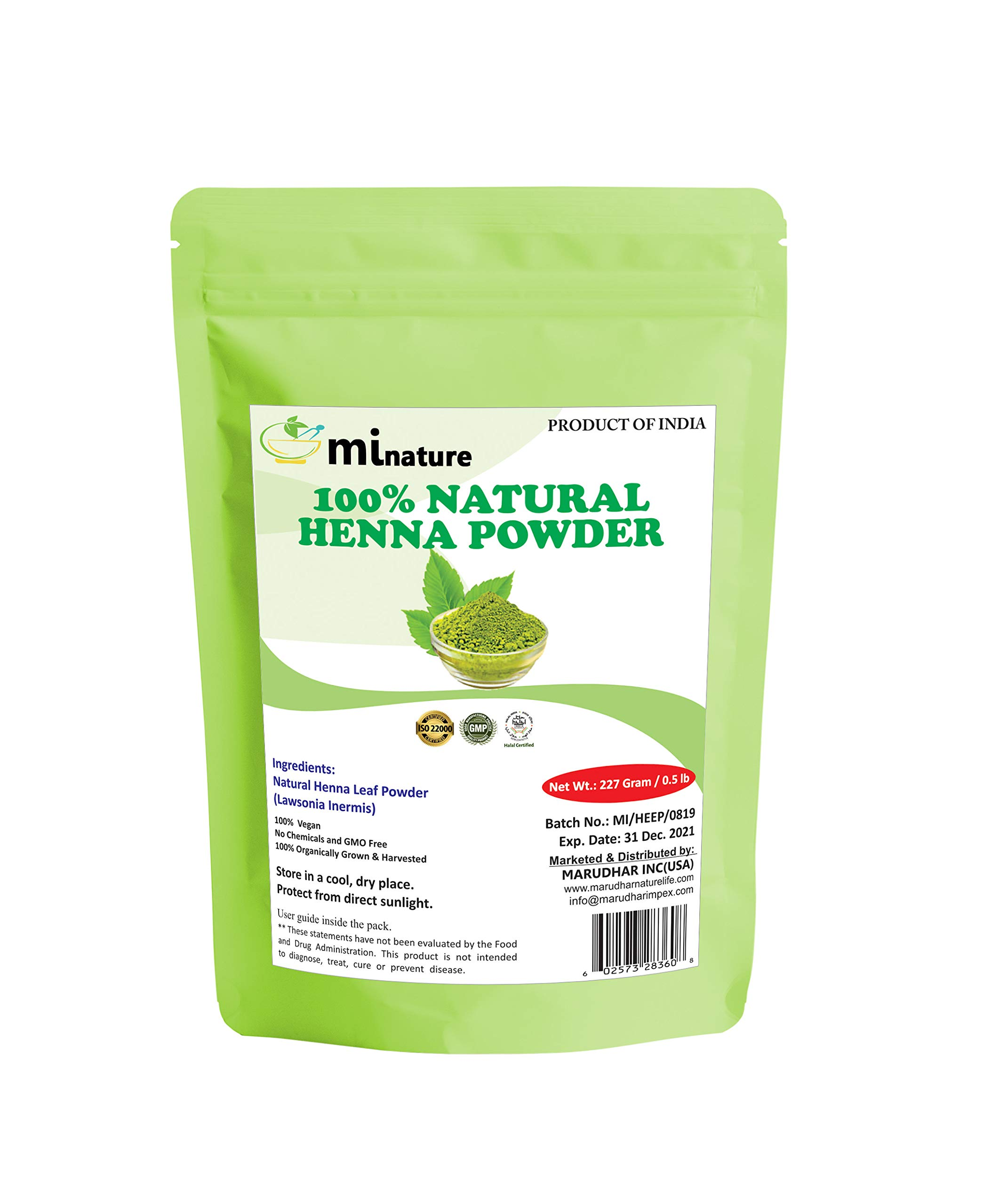 mi nature Henna Powder (LAWSONIA INERMIS)/ 100% Pure, Natural and Organic From Rajasthan, India (227g / (1/2 lb) For Hair Dye/Color, by mi nature