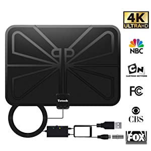 [Upgraded 2019] Totech Digital Amplified Indoor HD TV Antenna 50-80 Miles Range, Amplifier Signal Booster Support 4K 1080P Freeview HDTV Channels, 16.5ft Coax Cable